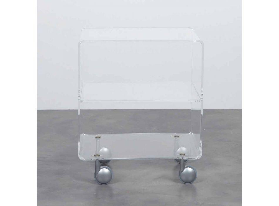 Carrinho multiuso em metacrilato transparente 4 compartimentos e rodas Rob