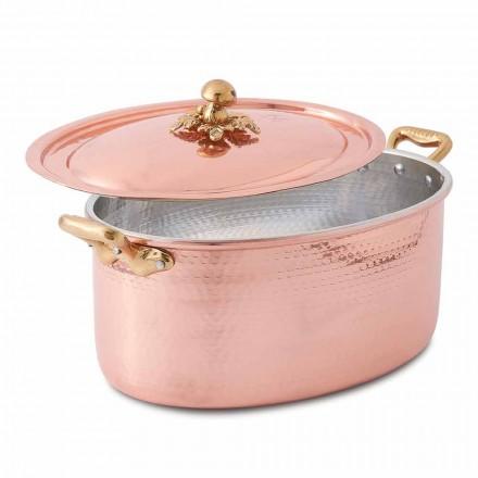 Caçarola oval de cobre estanhado à mão para forno e tampa 37x26 cm - Mariag