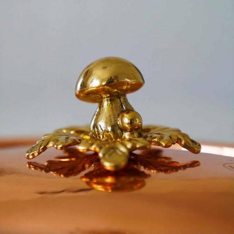 Caçarola de cobre estanhado à mão, tampa e cabo arqueado de 28 cm - Mariagiu