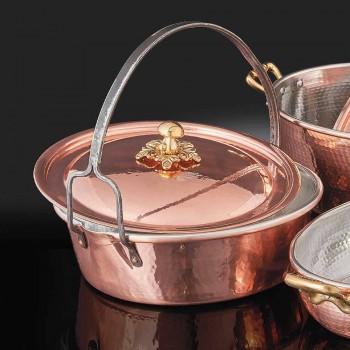 Caçarola de cobre estanhado à mão, tampa e cabo arqueado de 34 cm - Mariagiu