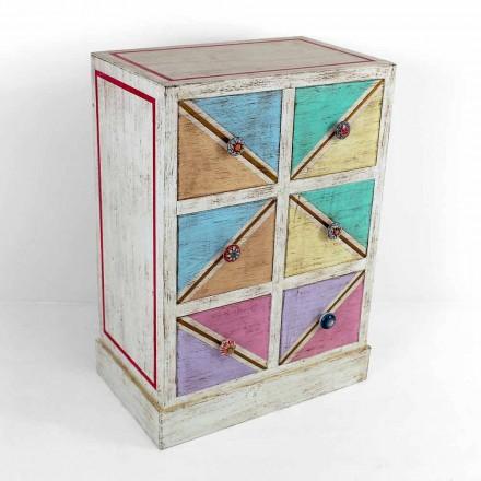 Cômoda de madeira artesanal com gavetas coloridas feita na Itália - Brighella