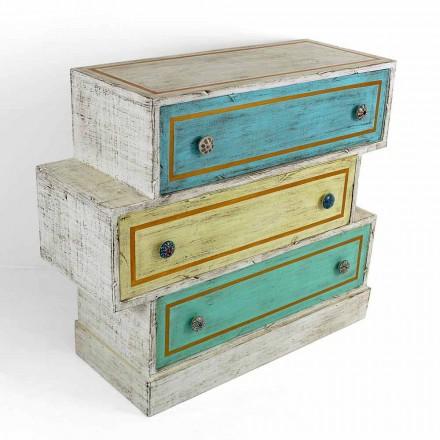 Cômoda com gavetas coloridas e puxadores de cerâmica feitos na Itália - Hendriks