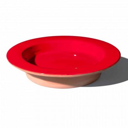 Peça central redonda em terracota e cerâmica vitrificada feita na Itália - Brooke