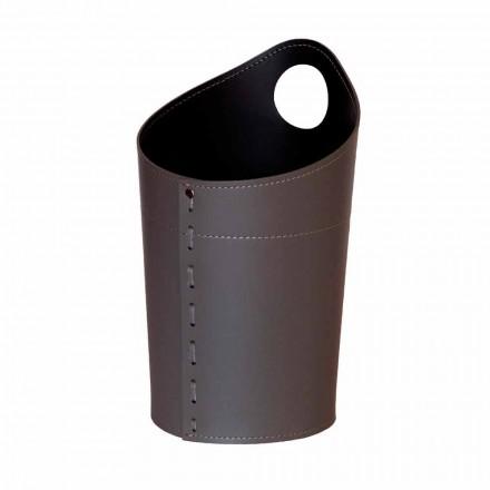 Cesto de lixo de papel reciclado em couro artesanal Ambrogio