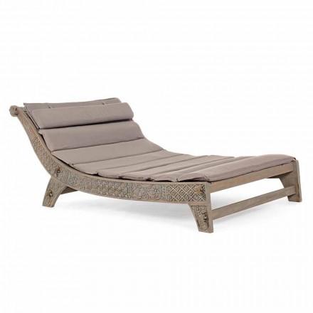 Espreguiçadeira de madeira de teca para exterior com incrustações de homemotion - Giobbe