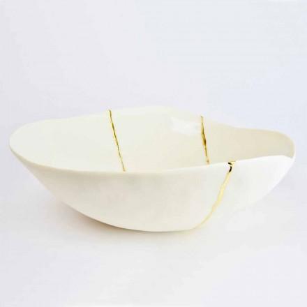 Tigelas em Porcelana Branca e Folha de Ouro Design de Luxo Italiano - Cicatroro