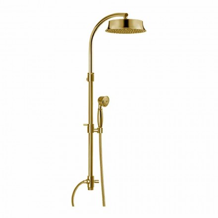 Coluna de banho clássica de latão com cabeça de chuveiro redonda Made in Italy - Yari