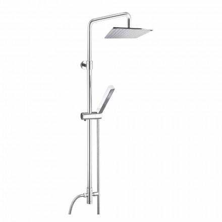 Coluna de duche em latão com cabeça de chuveiro e duche de mão em Abs Made in Italy - Lesio