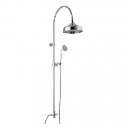 Coluna de banho de latão com cabeça de chuveiro e ducha higiênica feita na Itália - Rimo