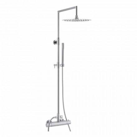 Coluna de chuveiro de latão com cabeça de chuveiro redonda ultrafina Made in Italy - Merio