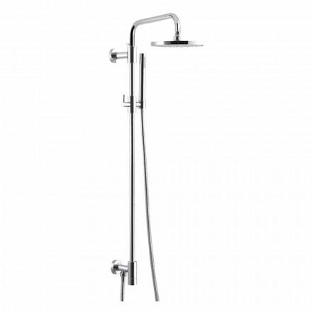 Coluna de duche em latão cromado com cabeça de duche em aço Made in Italy - Daino