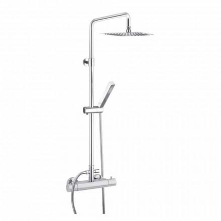 Coluna de duche em latão cromado com cabeça quadrada Made in Italy - Studio