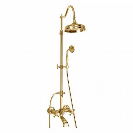 Coluna de chuveiro ajustável de latão com banho do Made in Italy - Fedrio