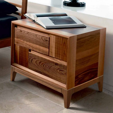 Cômoda 2 gavetas em madeira maciça de nogueira de design moderno, Nino