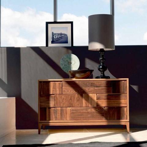Dresser 3 gavetas design moderno em nogueira sólida, Nino