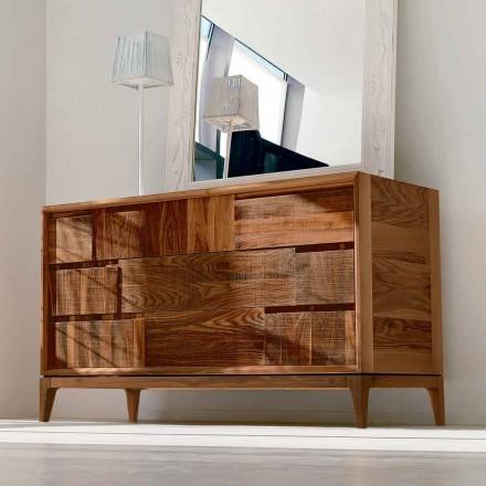 3 gaveta dresser Sandro em madeira de nogueira, feita na Itália, design moderno