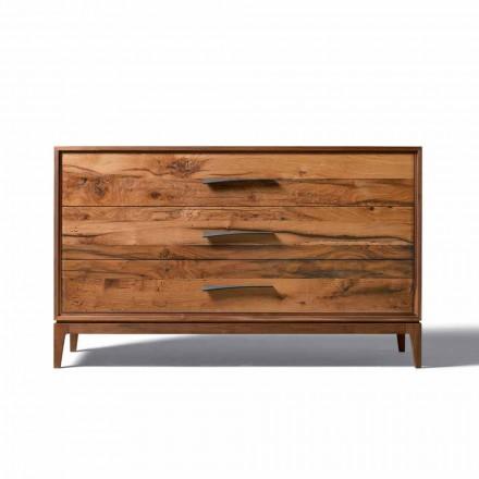 3 gavetas de gaveta Sandro em madeira de nogueira, L 131 x L 55 x A 8 cm