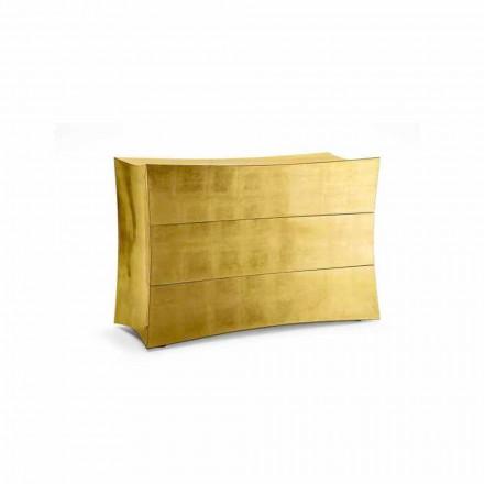 Cômoda de 3 gavetas Isidoro feita de MDF, design moderno feito na Itália