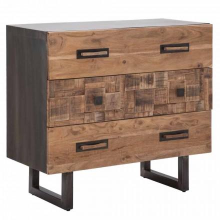 Cômoda em madeira de acácia e ferro com 3 gavetas de design moderno - esmeralda