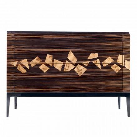 Cômoda em madeira de ébano com 4 gavetas Grilli Zarafa made in Italy