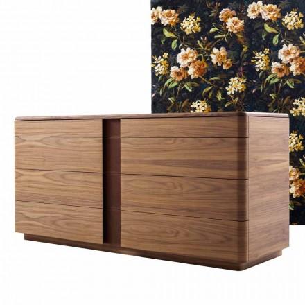 Design de madeira maciça e cômoda de couro Grilli York made in Italy