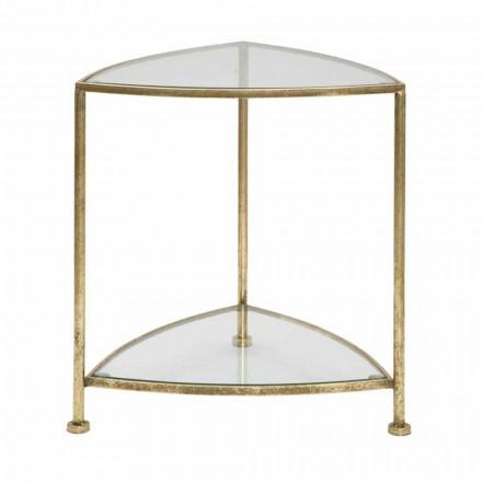 Mesa de cabeceira triangular de design moderno em ferro e vidro - Kira