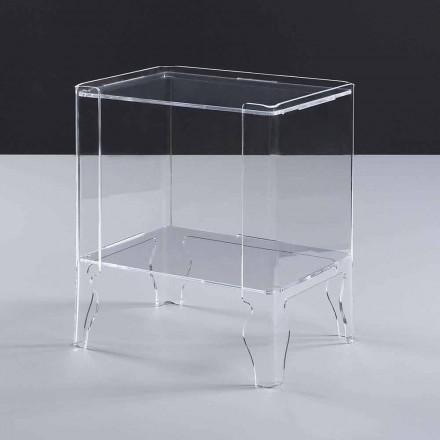 Mesa de cabeceira moderna Marc, feita de metacrilato transparente, 8 mm de espessura