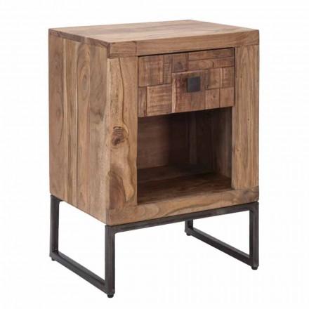 Mesa de cabeceira de design com gaveta em madeira de acácia e ferro - Dionne