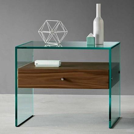 Mesa lateral de design moderno em vidro extraclear fabricado na Itália - Segreto