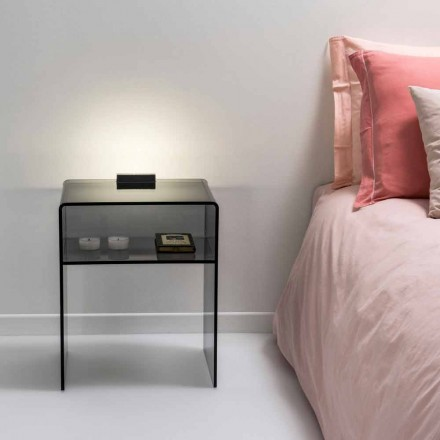 Mesa de apoio com iluminação LED Adelia, fumé color, made in Italy