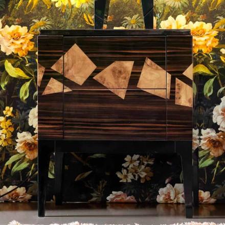 Mesa de cabeceira em madeira de nogueira e ébano Grilli Zarafa made in Italy