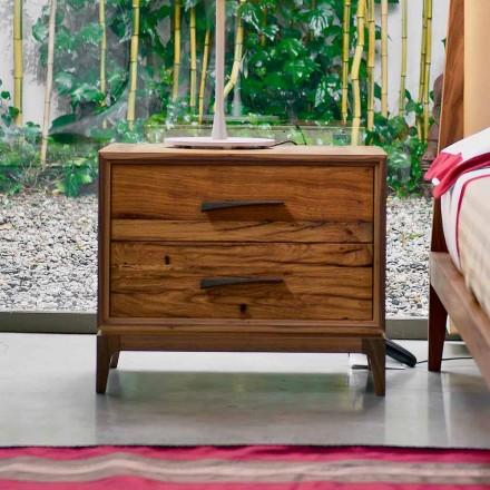 Mesa-de-cabeceira de 2 gavetas Margo com acabamento em carvalho antigo, L 60 x L 42 cm