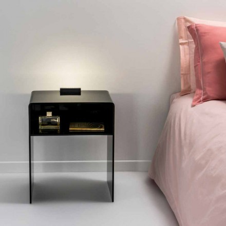Mesa lateral preta com iluminação LED Adelia, feita na Itália, design moderno