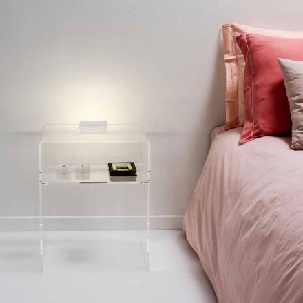 Moderna mesa lateral transparente com iluminação LED Adelia, fabricada na Itália