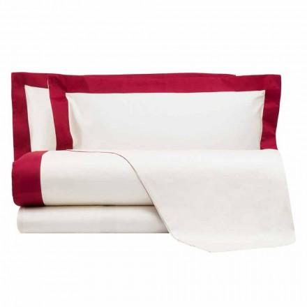 Conjunto de lençóis de cetim para cama de casal com bordas coloridas - Hyacinth