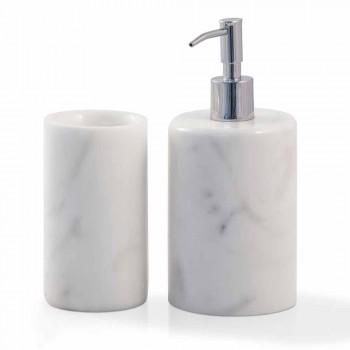 Acessórios de banheiro de composição em mármore branco de Carrara fabricado na Itália - Tuono