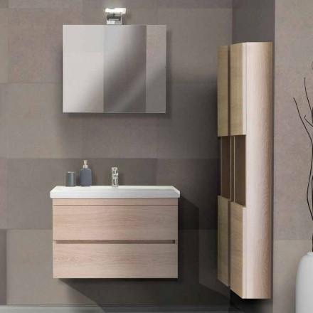 Móvel de banheiro de 80 cm, lavatório, espelho e 2 colunas - Becky
