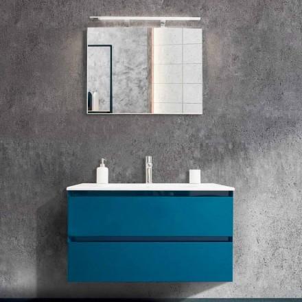 Armário de Banheiro 90 cm, Lavatório Moderno e Espelho - Becky