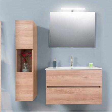 Armário de Banheiro 90 cm, Wah Basin, Espelho e Coluna - Becky