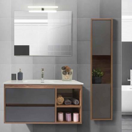 Móvel de banheiro 100 cm, lavatório, espelho e coluna - Becky