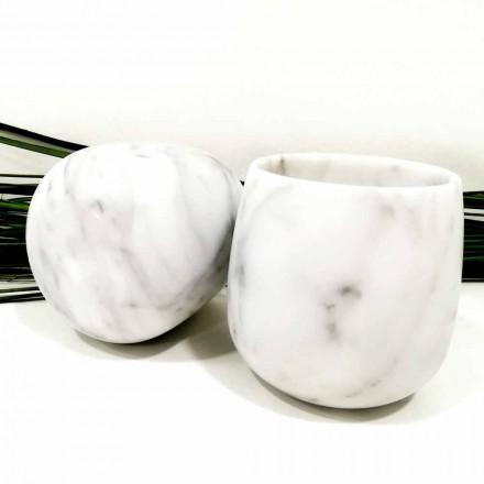 Composição de 2 Copos em Mármore Carrara Branco Made in Italy - Dolla