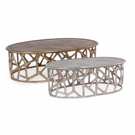 Composição de 2 Mesas de Café de Alumínio Homemotion - Solomon