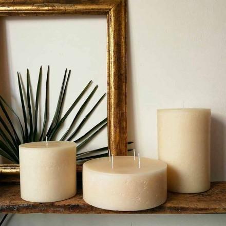 Composição de 3 velas redondas de cera modernas feitas na Itália - Candie