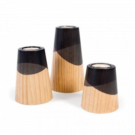 Composição de 3 castiçais modernos em madeira maciça de pinho - branco