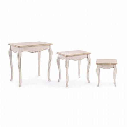 Composição de 3 Mesas de Café em Madeira Design Clássico Homemotion - Clássico