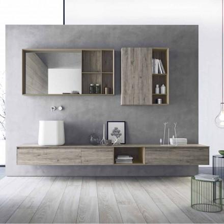 Composição de móveis de banheiro modernos, design suspenso feito na Itália - Callisi6