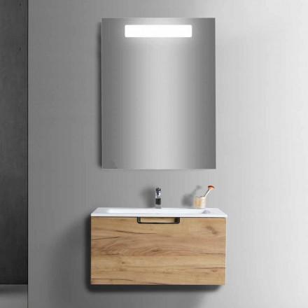 Composição de Armário de Banheiro em Madeira e Espelho Design Moderno - Gualtiero