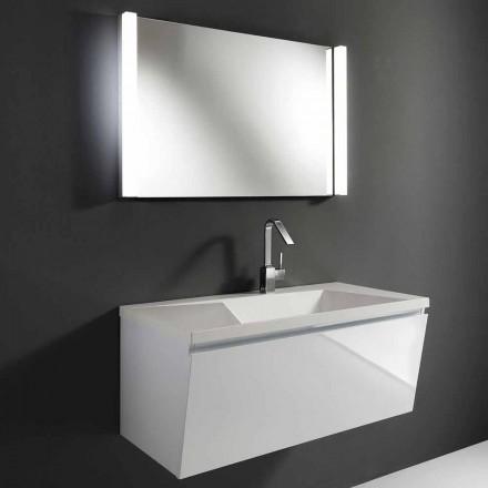 Composição de mobiliário de banheiro suspenso moderno branco com espelho LED - Desideria