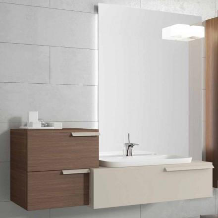 Conjunto de móveis de casa de banho moderno feliz, madeira lacada, design italiano