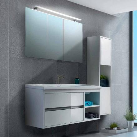 Móvel de banheiro 100 cm, espelho, lavatório e coluna - Becky